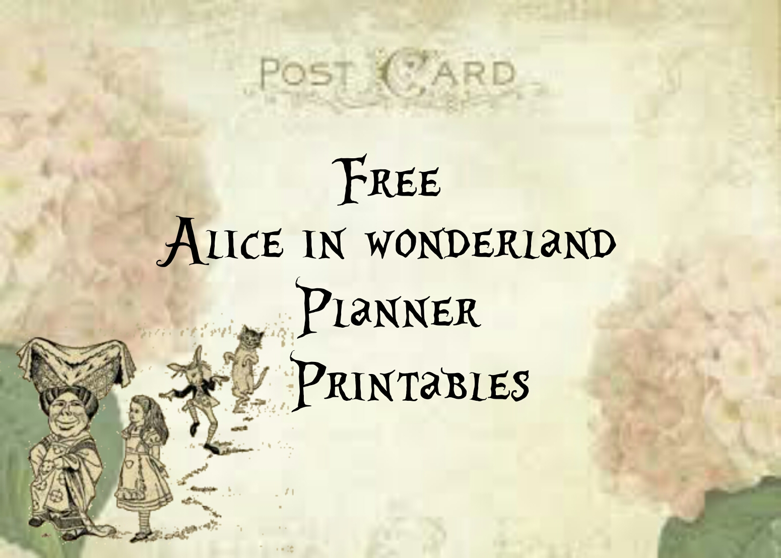 photo relating to Alice in Wonderland Printable called Alice within Wonderland : Free of charge Planner Printables Lorraine A